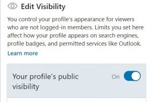 Toggle LinkedIn visiblity